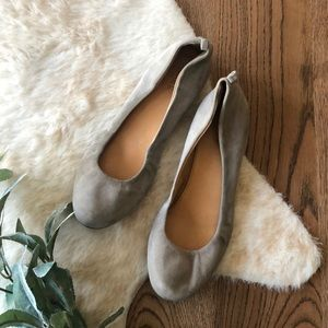 J. Crew gray suede leather flats size 8